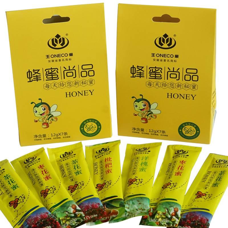 王巢野生成熟蜂蜜 便携装多口味组合装蜂蜜12g*7条