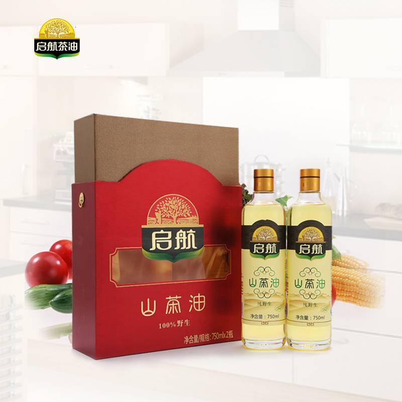 启航 天然野生山茶油食用油750ml*2礼盒装 非转基因